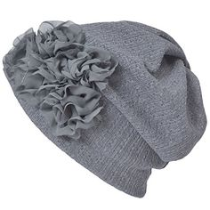 Casualbox Womens Flower Headband Neck Warmer Beanie Hat 3 Way Summer Winter Retro Ladies Gray >>> To view further for this item, visit the image link.