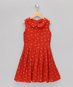 Take a look at this Orange Bow Collar Dress - Girls by Yumi Girls on #zulily today!