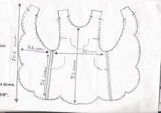 No pattern, but could make a good guess Sewing Doll Clothes, Sewing Aprons, Sewing Dolls, Vintage Apron Pattern, Aprons Vintage, Vintage Sewing Patterns, Baby Dress Patterns, Baby Clothes Patterns, Clothing Patterns