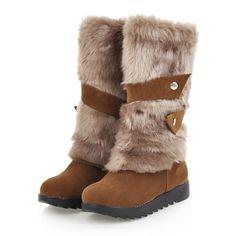 b9b983608ec7 2018 Women Plus Size 43 Winter Warm Snow Boots Female Plush Rabbit Fur Felt  Boots Lady Mid Calf Flats Bottes Molles Brown Shoes.