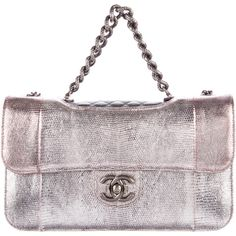 Pre-owned Chanel Lizard Perfect Edge Flap Bag ($6,000) ❤ liked on Polyvore featuring bags, handbags, metallic, chanel handbags, quilted flap bag, top handle handbags, man bag and quilted handbags