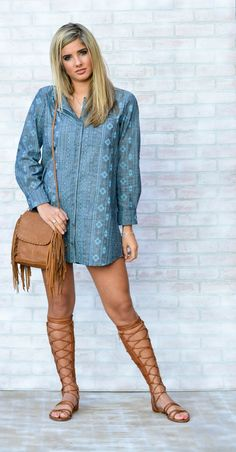 Denim Print Shirt Dress $52.00.