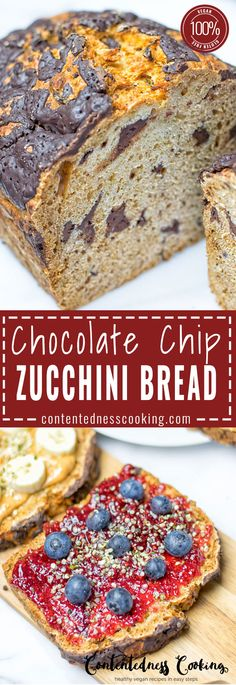 Chocolate Chip Zucchini Bread, vegan, gluten free and so delicious! Perfect for breakfast, dessert or snacking. Made with just 6 wholesome ingredients and perfect to satisfy your chocolate craving.