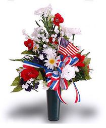This tribute is made with florals and trim in shades of red, white and blue with an American Flag. The vase has a detachable pedestal that may be removed and a ground spike (included) may be used to place at grave site. Grave Flowers, Cemetery Flowers, Funeral Flowers, Silk Flowers, Cemetery Vases, Dried Flowers, Funeral Floral Arrangements, Church Flower Arrangements, Artificial Flower Arrangements
