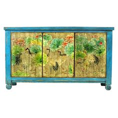 Fab.com | Lotus Sideboard Blue & Gold - made from beautifully reclaimed wood from the Qing Dynasty that's often 100 to 300 years old.