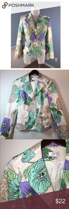 LOFT Floral Blazer ✔️3 Button Blazer ✔️Lined ✔️Double Pocket Front ✔️Cotton/Spandex Blend ✔️No Known Holes, Stains or Damages LOFT Jackets & Coats Blazers