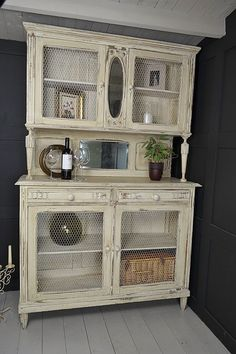 """French Shabby Chic Kitchen Dresser with Chicken Wire Doors (White) 