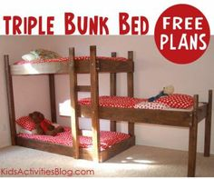 Triple bunk bed plans - build your own.  Great to have a spare bed for sleepovers! #diy