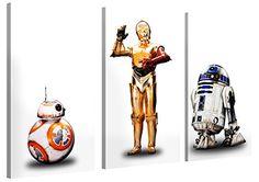Star Wars 7 Force Awakens - Three Droids - 120x80cm 3-Teilig - XXL Leinwand-Druck - Original Lizenzprodukt - Galerie Kunstdruck als moderne Wohnzimmer-Deko - Leinwand-Bilder auf Holz-Keilrahmen