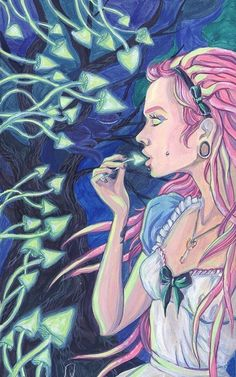The real Alice in Wonderland. Psychedelic Experience, Psychedelic Art, Trippy Mushrooms, Cute Goth, Acid Art, Indigo Children, Psy Art, Goth Art, Hippie Life