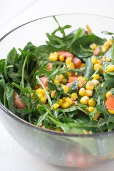 Mexican Arugula Corn Salad With Olive Oil/Lime Dressing #recipe #healthy