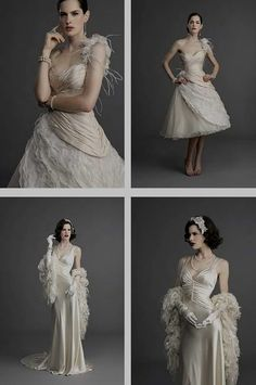 1930's wedding dresses-love the one on the top! In tea length perhaps...