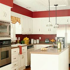 Black And White Kitchen Cabinets With Red Wall photo - 6