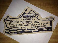 "Vintage 11"" Nautical Detroit Dealer Patch 1960's Boats Motors Inc on Mack Ave | eBay"