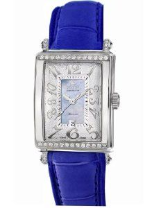 Gevril Women's 6207NT.3B Blue Mother-of-Pearl Genuine Alligator Strap Watch