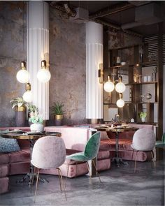 WANDERLUSTING: contemporary restaurant design, so pink & pretty - Decoration For Home Deco Restaurant, Restaurant Interior Design, Home Interior Design, Interior Architecture, Interior Decorating, Interior Ideas, Luxury Restaurant, Restaurant Ideas, Decorating Ideas