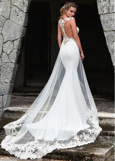 Acheter Robe de mariée en sirène à la mode en tulle et acétate en satin avec des appliques en dentelle perlée et un train détachable pas cher chez Laurenbridal.com