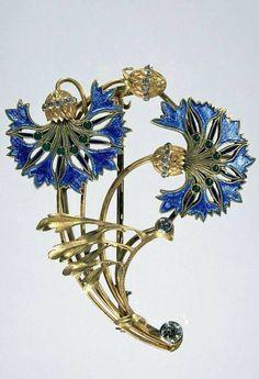 """Blue Art Nouveau by RENÉ LALIQUE """"Broche aux bleuets"""", c.1892"""