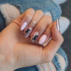 Disney Acrylic Nails, Summer Acrylic Nails, Best Acrylic Nails, Cute Nails, Pretty Nails, Mickey Nails, Romantic Nails, Gel Nails French, Nail Tattoo