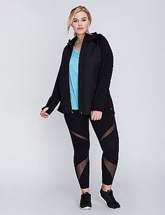 The quilted, woven panels on this LIVI Active jacket immediately take the edge off chilly days. (The soft brushed fabric on the interior sleeves increase the cozy level.) Thumbholes on sleeves. Slash pockets. Zip-front closure with zipper garage. Toggle drawstring hood. lanebryant.com