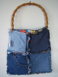 Recycled Blue Jean Patch Purse by jeanoligy on Etsy, $10.00