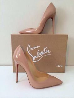 New Christian Louboutin So Kate Nude Patent Leather 120MM Pump Shoes 37.5M