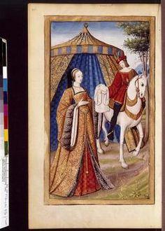 """Déjanire envoyant la tunique à Hercule. In Jean Pichore,""""Héroïdes""""d'Ovide. Traduction de Octovien de Saint-Gelais (1468-1502). Fonds de Cardinal Mazarin.  v. 1504. Bnf, Français 874 Folio108verso. La coiffe de la dame est pourtant postérieure à ce qui se porte dans les toutes 1ères années du 16e s..."""