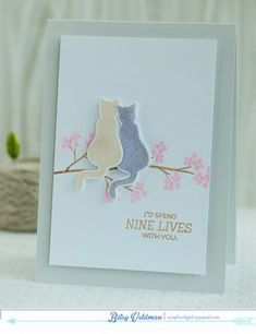 Nine Lives With You Card by Betsy Veldman for Papertrey Ink (August 2014)