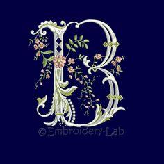 Floral Monogram Initial B Machine Embroidery Design verified design wedding alphabet clothes decor ornament PES HUS JEF format file, Monogram Design, Monogram Letters, Monogram Initials, Lettering Styles, Lettering Design, Hand Lettering, Embroidery Applique, Machine Embroidery Designs, Alphabet Art