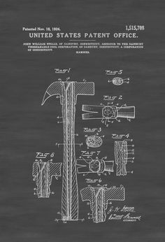 A patent print poster of a Claw Hammer invented by John William Stolle. The patent was issued by the United States Patent Office on November 18, 1924. A claw hammer is a tool primarily used for pounding nails into, or extracting nails from, some other object. Generally, a claw hammer is associated with woodworking but ...
