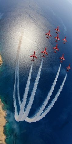 British Red Arrows. An unusual and privileged view of the Eagle formation, as seen from above, during practice over Akrotiri, Cyprus, on 14 April 2011. The image was taken by Sqn Ldr Graeme Bagnall