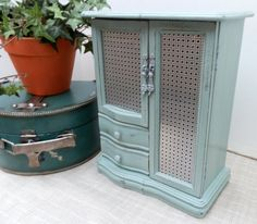 Upcycled Jewelry Box Distressed & Painted in Annie Sloan Chalk Paint Duck Egg Blue Shabby Chic Jewelry Organizer