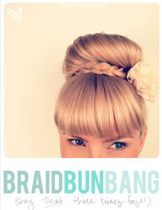 A quick + easy updo for girls with bangs/fringe