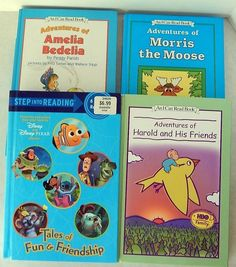 4 I Can Read Books Thick Pixar Disney Amelia Bedelia Harold Purple Morris Moose