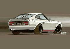 Tuner Cars, Jdm Cars, Porsche, Maserati, Japanese Sports Cars, Japanese Domestic Market, Nissan Z, Datsun 240z, Car Illustration