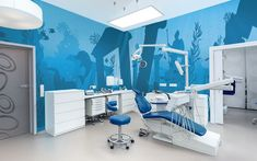 Underwater silhouette murals in a pediatric dental treatment room. Design by Imagination Dental Solutions.