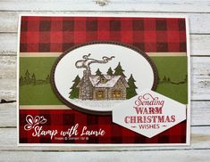 Christmas in July with Rustic Cottage by Stampin' Up! Homemade Christmas Cards, Stampin Up Christmas, Christmas Cards To Make, Xmas Cards, Homemade Cards, Handmade Christmas, Holiday Cards, Cabin Christmas, Christmas 2019