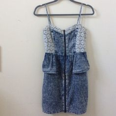 Mimi Chica Acid Wash Denim Dress Acid wash denim with lace accent. Peplum style. Exposed fully separating brassy gold zipper. Machine wash cold in delicate cycle, line dry, iron on low. Worn once. Excellent condition! Offers welcome! Mimi Chica Dresses Mini
