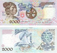 Portugal - 2000 escudos – Bartolomeu Dias Entrada em circulação: 23-10-1991 Retirada de circulação: 31-12-1997