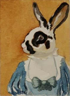Rabbit Art Lady Willowby ACEO original by BeaumontStudio on Etsy