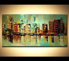 Modern palette knife abstract city painting by OsnatFineArt, $450.00