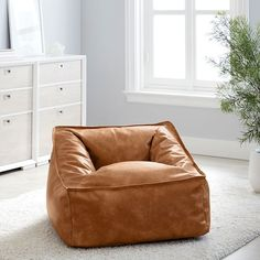 Vegan Leather Caramel Modern Lounger   Pottery Barn Teen Leather Bean Bag Chair, Teen Bedroom Furniture, Cool Cube, Room Planner, Pottery Barn Teen, Lounge Seating, Cozy Bed, Bed Styling, Vegan Leather