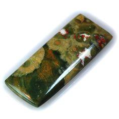 21Ct UNIQUE Natural Rhyolite Rainforest Jasper (36mm X 15mm) Cabochon