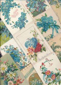 Nice Lot of ~25 VICTORIAN FORGET-ME-NOTS blue~ FLOWERS greetings Postcards-a237 #greetings