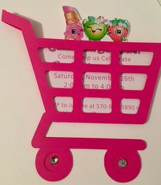 Shopkins shopping cart birthday invitations/announcements by ArtsyAunty on Etsy https://www.etsy.com/listing/493887039/shopkins-shopping-cart-birthday