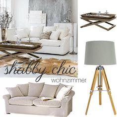 """""""Shabby Chic"""" ein Wohntrend mit charmanten Ecken und Kanten. Weiße Wohntextilien, Naturholz mit Altersspuren und kleine moderne Accessoires, so einfach kannst du dein Wohnzimmer zu einem Lieblingsort verwandeln."""
