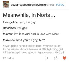 Meanwhile in Norta Evangeline and Davidson are gay and Maven is bisexual Mareven