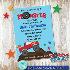 Monster truck invite, Monster Truck Party Printable invite, Party Printables. by AdrisCorner on Etsy