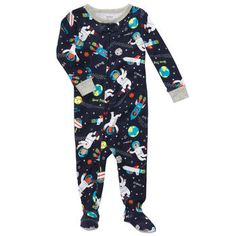 Carter's Boys Months Space Dog Cotton Sleeper « Clothing Impulse Baby Boy Pajamas, Carters Baby Boys, Toddler Boys, Little Boy Outfits, Kids Outfits, Boys Christmas Pajamas, Cotton Pjs, One Piece Pajamas, Snug Fit