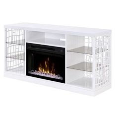 Dimplex Charlotte Media Console with 25 Multi-Fire Glass Ember Bed Firebox in White
